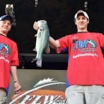Wisconsin state champions Nicholas Peterson (left) and Kyler Chelminiak won the FLW High School Fishing Central Regional Championship on Kinkaid Lake with a total catch of 9 pounds, 9 ounces. (Photo by Gary Mortenson, FLW)